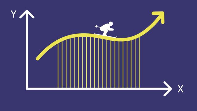 grafiikka jossa piirroshahmo laskettelee suksilla infografiikan kuvaajan päällä.